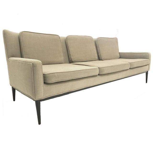 "Paul McCobb Sleek Paul McCobb Sofa Model 1307 for Directional in ""Oatmeal"" Upholstery For Sale - Image 4 of 7"