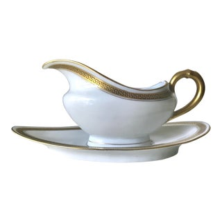 Art Deco Haviland Limoges White and Gold Porcelain Gravy Boat and Dish - 2 Pieces For Sale