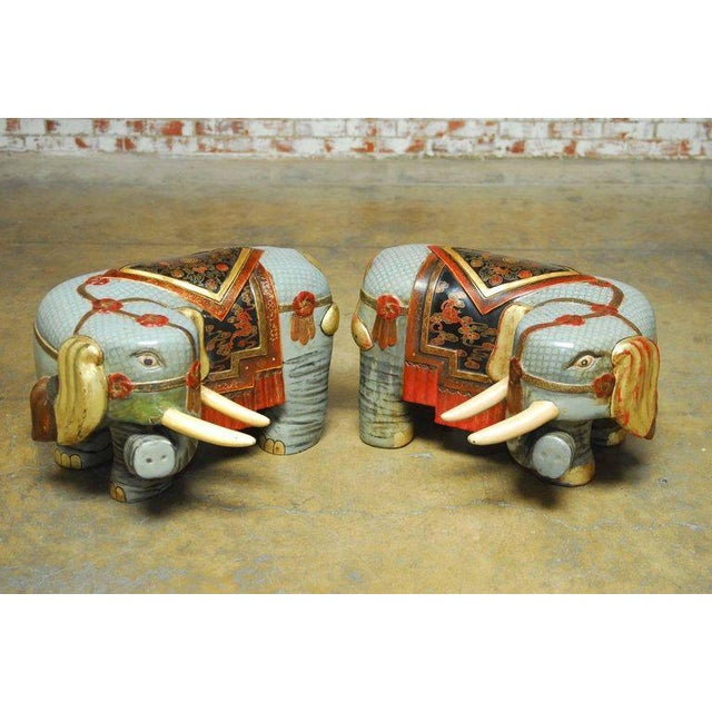 Chinese Carved Polychrome Elephant Stools - A Pair - Image 3 of 10