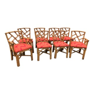 Vintage Chippendale Rattan Craft Chairs Set of 8 For Sale