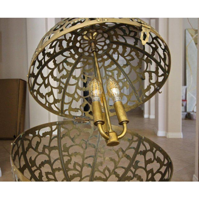Large Japanese Asian Pierced Filigree Brass Ceiling Pendant Light For Sale In Palm Springs - Image 6 of 11