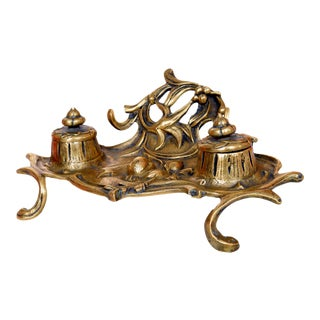 Early 20th Century Ornamented Brass Inkwell For Sale