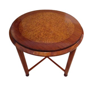 Art Deco Occasional Table in Burl Walnut and Mahogany