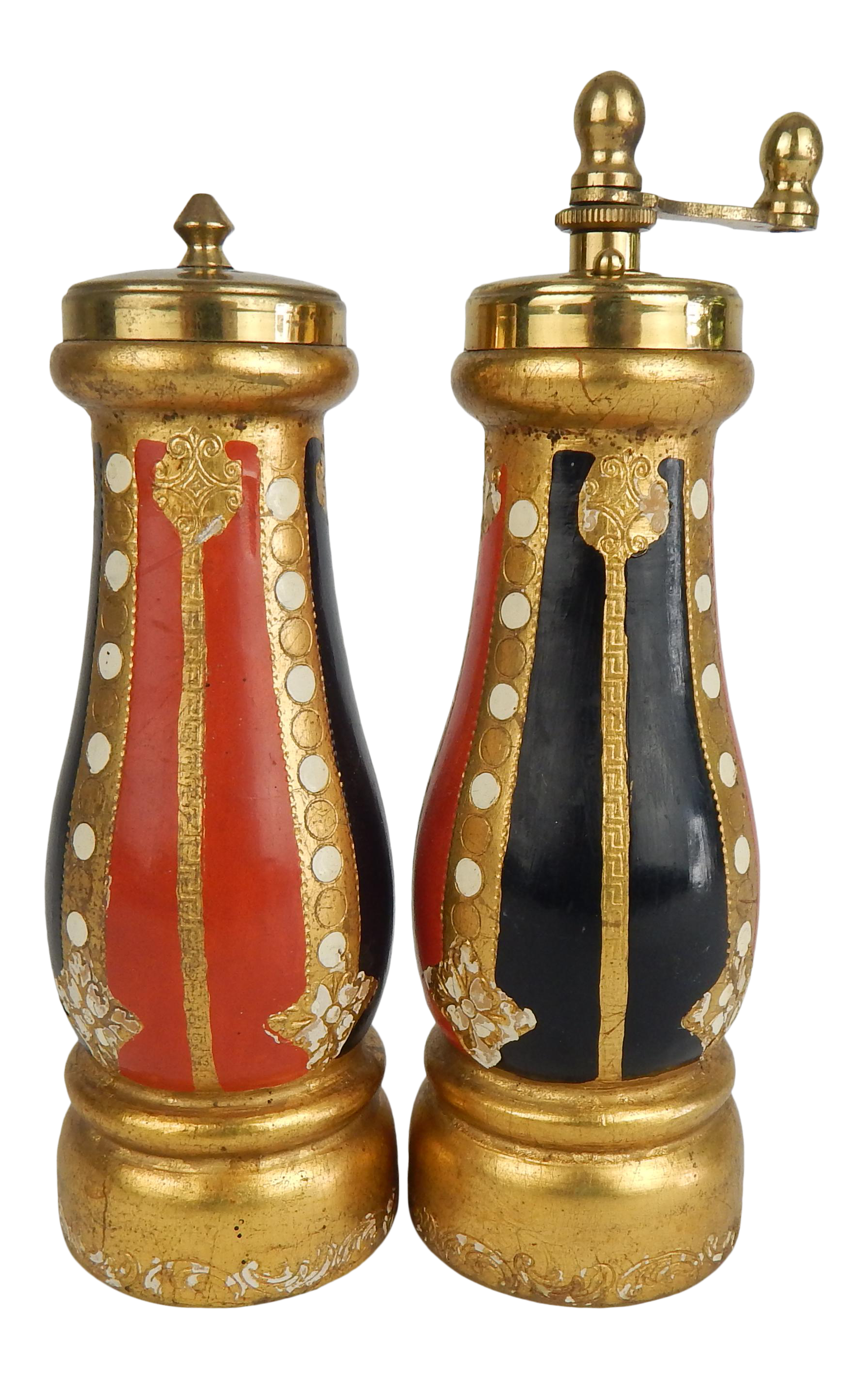 7\u201d shakers wood and brass serving Morethebuckles Vintage Brass and Wood Salt and Pepper Shakers Rare vintage shakers