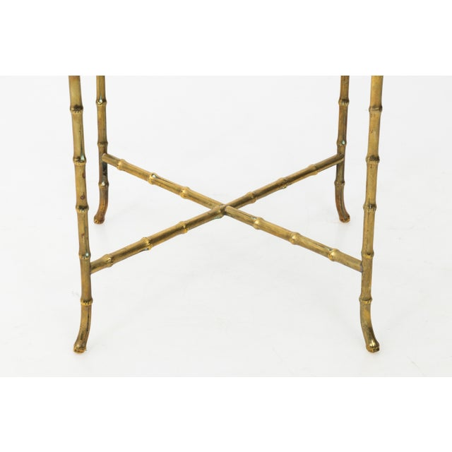 1960s Hollywood Regency Solid Brass Faux Bamboo Side Table For Sale In New York - Image 6 of 11