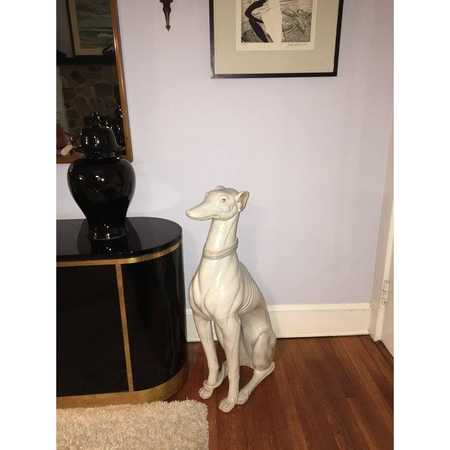 Hollywood Regency Porcelain Greyhound Statue - Image 3 of 4