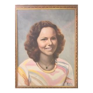 Vintage Mid-Century Portrait Painting of Woman