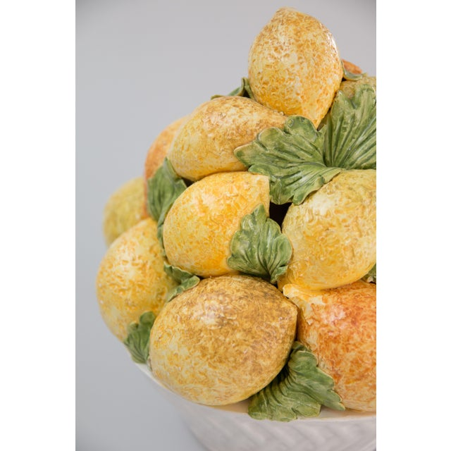 Farmhouse Vintage Italian Majolica Lemons Basket Centerpiece For Sale - Image 3 of 6