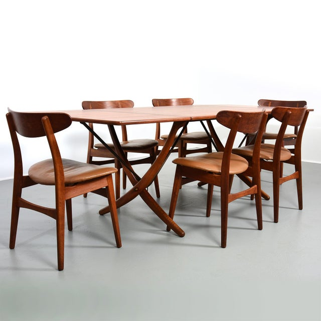 Early Hans Wegner Dining Set with 6 chairs Made in Denmark, circa 1950's Dining Table, Model AT-304, Hans Wegner for...
