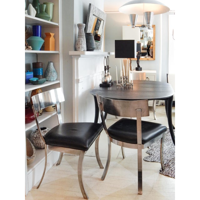 """Black """"Klismos Style"""" Dining Chairs For Sale - Image 8 of 9"""