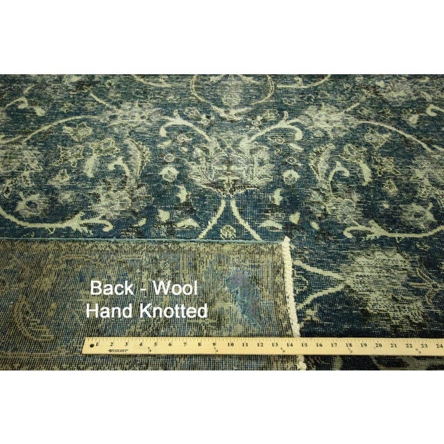 """Oriental Overdyed Tabriz Floral Rug - 9'2"""" x 10'2 - Image 11 of 11"""