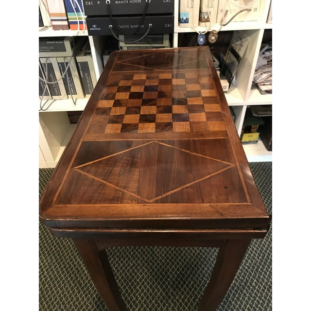 English 1700's Antique Inlaid Game Table For Sale - Image 3 of 10