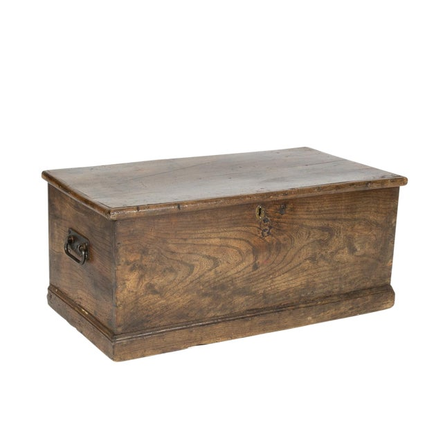 Rustic Chestnut Trunk With Over-Scale Iron Hinges, English Circa 1860. For Sale
