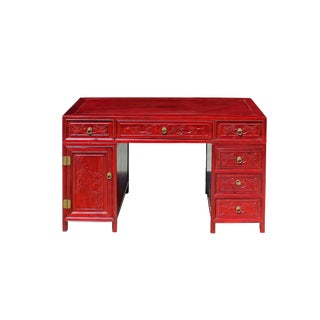 Chinese Red Brown Stain 3 Pieces Oriental Editor Writing Desk For Sale