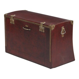 1900s French Automobile Brass Detailed Trunk For Sale