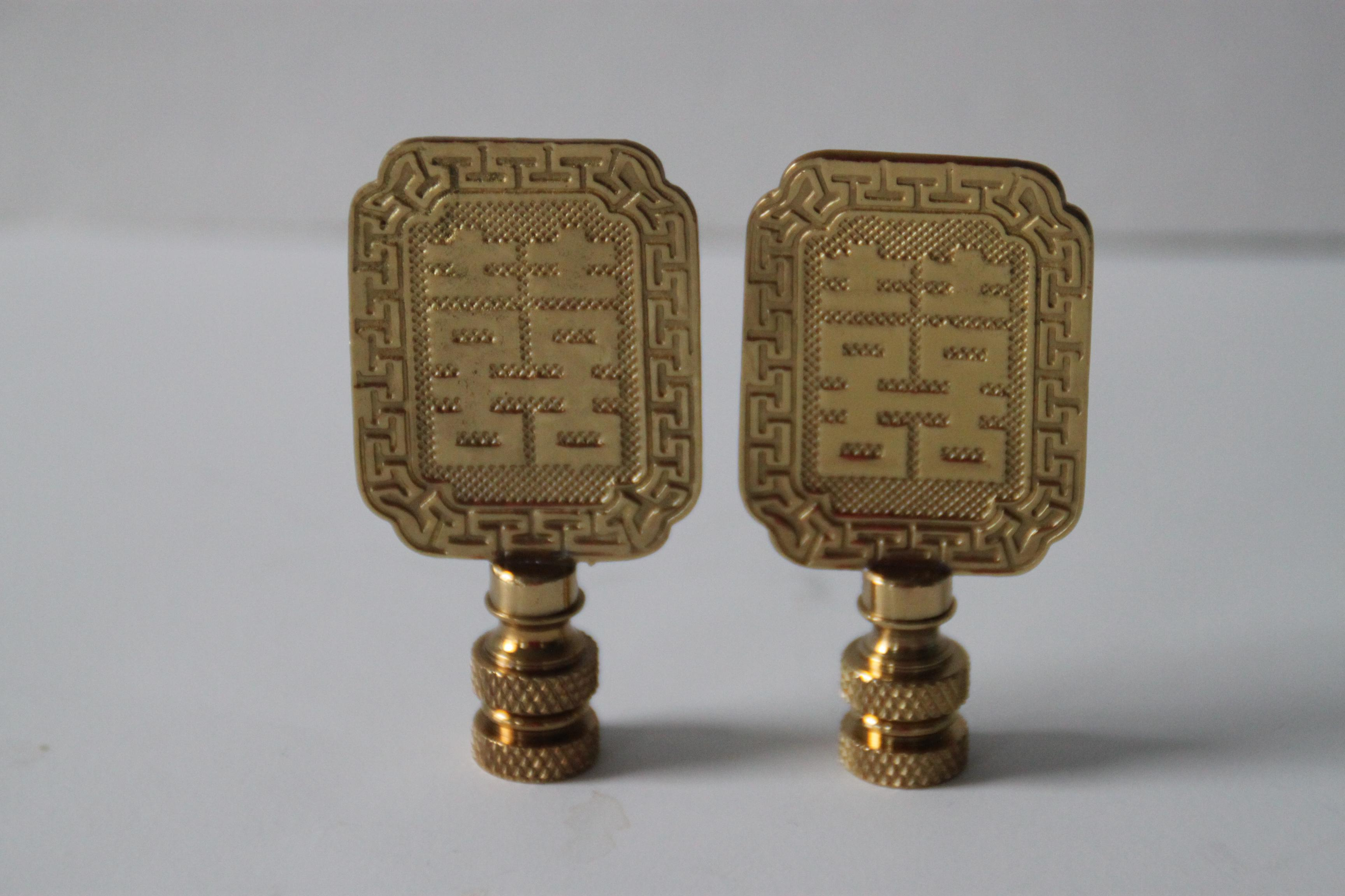 Asian Style Brass Lamp Finials   A Pair   Image 2 Of 4
