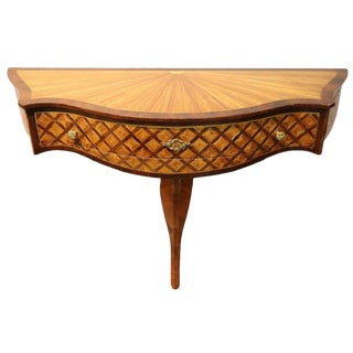 20th Century Italian Marquetry Wood Console Table For Sale