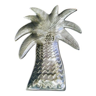 Huge Metal Palm Tree Decorative Serving Plate Platter For Sale