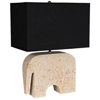 Elephant Lamp With Shade, White Marble For Sale