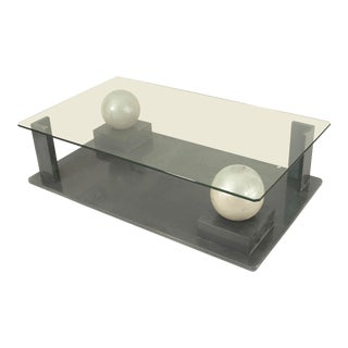 French Post-War Design, 1950s Geometric Base Coffee Table For Sale