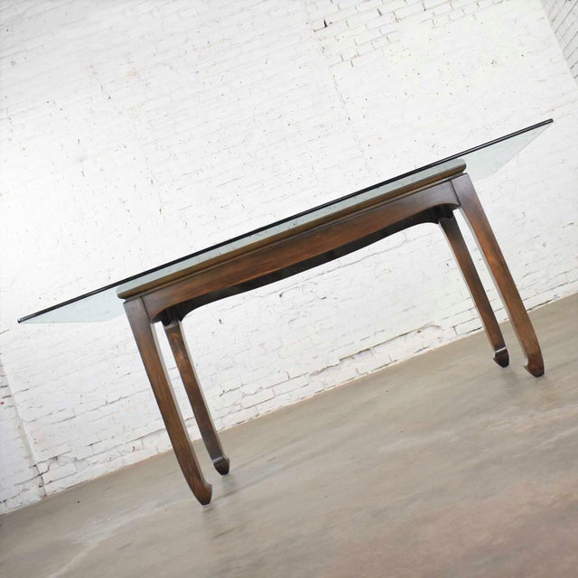 Vintage Chinoiserie Chow Leg Glass Top Dining Table Walnut Color Finish For Sale - Image 9 of 13