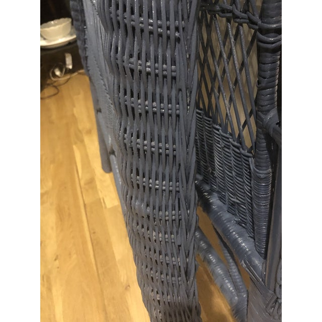 Vintage French Blue Wicker Twin Headboards - a Pair For Sale - Image 10 of 11