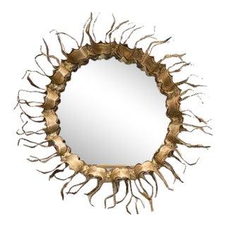 Round Brutalist Gilt Mirror For Sale
