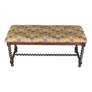 Karpen English Jacobean Barley Twist Upholstered Bench For Sale