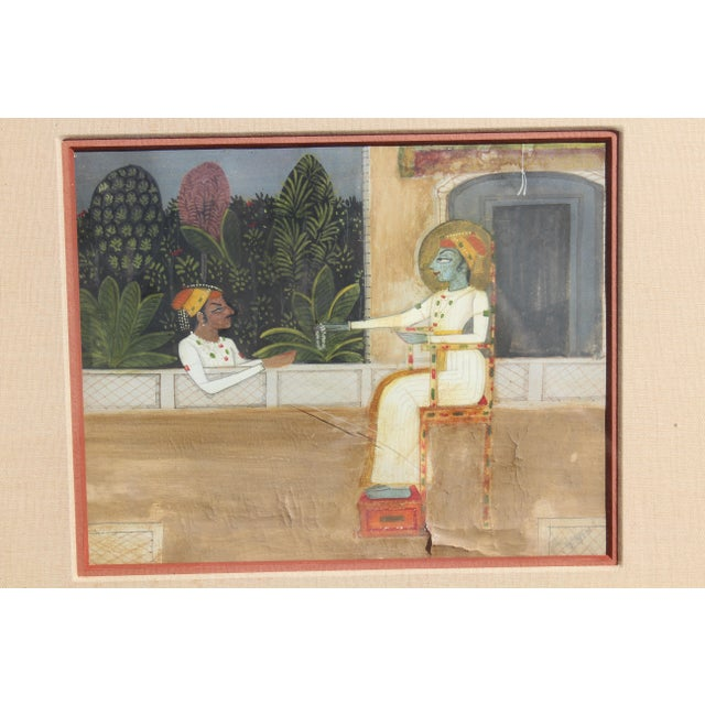 Drawing/Sketching Materials Nice 19/18 C. Indian Gouache Painting For Sale - Image 7 of 7