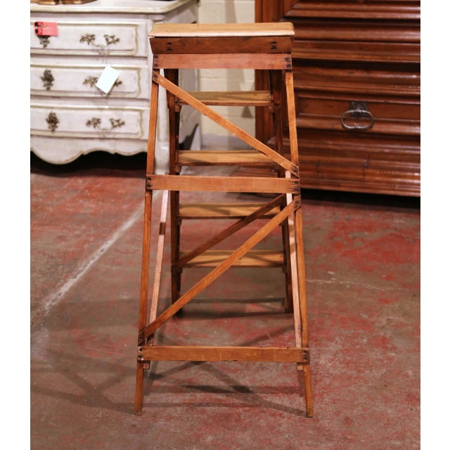 Metal 19th Century French Napoleon III Carved Walnut Folding Library Five-Step Ladder For Sale - Image 7 of 10