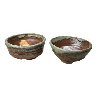 1960s Vintage Japanese Chawan Glazed Stoneware Dishes - a Pair For Sale