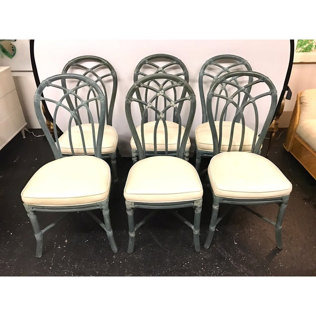Vintage Signed McGuire Furniture Bamboo Dining Chairs - Set of 6 For Sale - Image 11 of 11