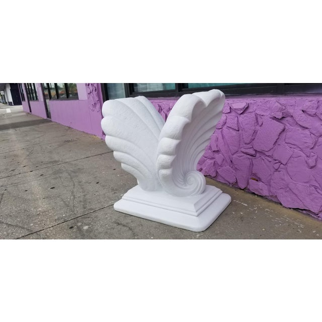 Grosfeld House Style Hollywood Regency Shell Plaster Console / Dining Table Base For Sale In Miami - Image 6 of 13