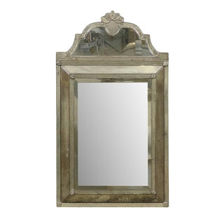 Crest Top Venetian Style Antiqued Rectangular Mirror, Handmade and Hand Silvered For Sale