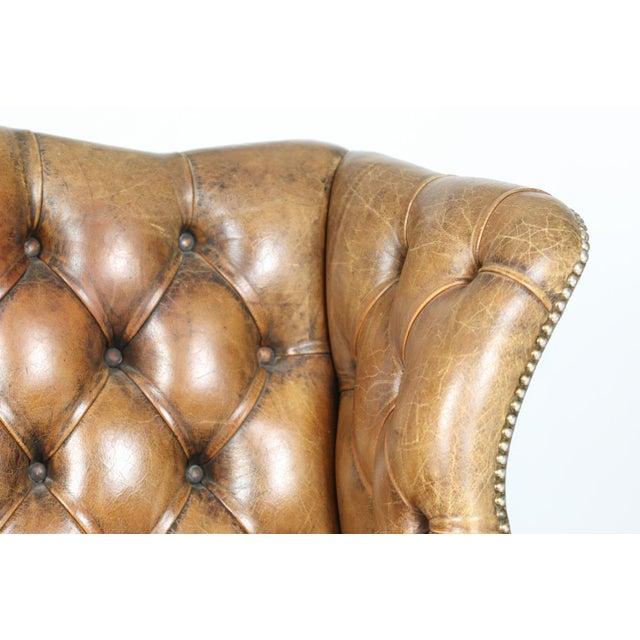 An Elegant Brown Tufted Leather and Mahogany Wing Chair with Tight Seat; English Circa 1860. For Sale - Image 12 of 13