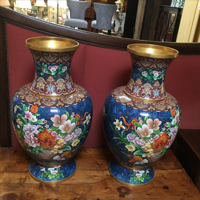 Chinese Cloisonne Style Vases - A Pair - Image 3 of 11