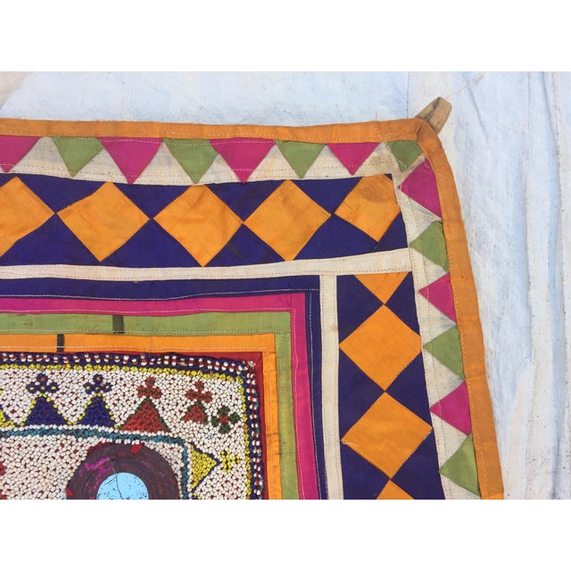 Vintage Beaded Indian Tribal Wall Hanging For Sale - Image 5 of 8
