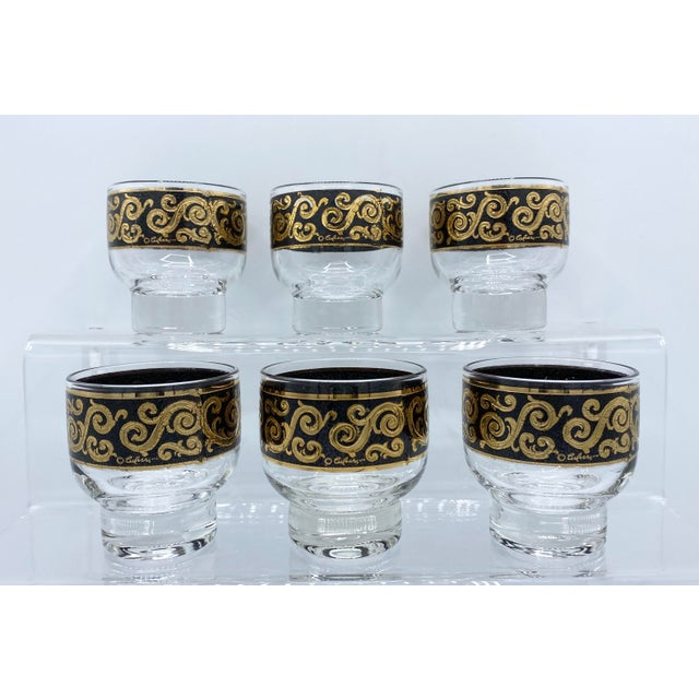 Metal 1950s Mid-Century Culver Black and 22k Gold Toledo Stemless Cocktail Glasses - Set of 6 For Sale - Image 7 of 11