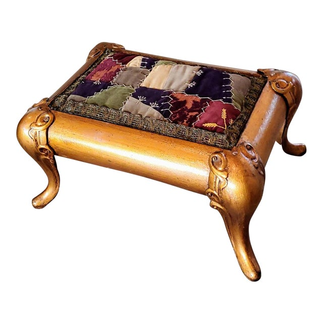 Antique Asian Gilt Bronze Cast Iron Upholstered Stool For Sale