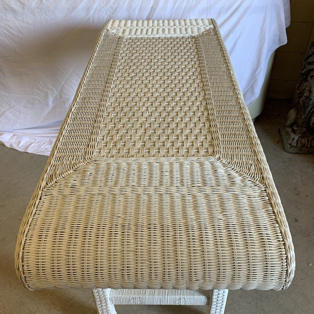Asian Style White Wicker Console Table For Sale In Richmond - Image 6 of 11
