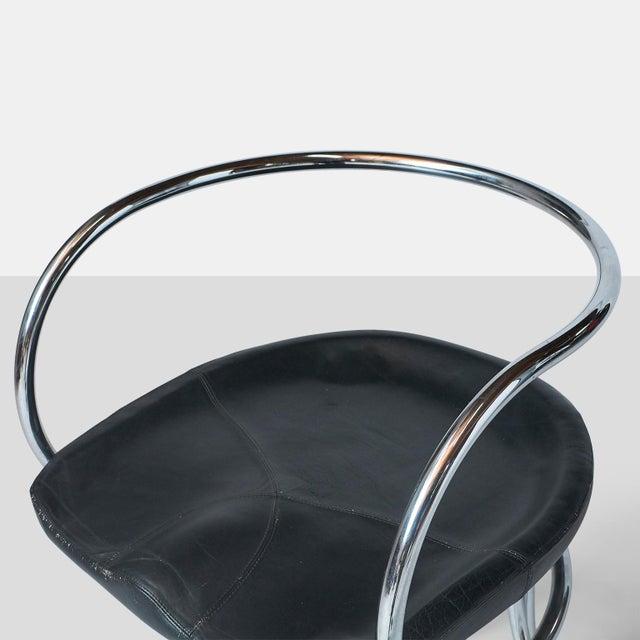 Metal Vladimir Tatlin Tubular Chrome Chairs with Black Leather For Sale - Image 7 of 9