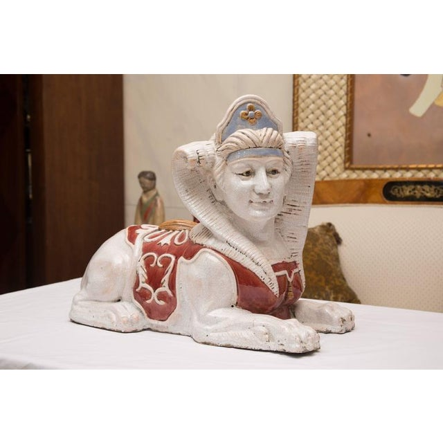 Glazed Terra Cotta Sphinx Figures- A Pair For Sale In West Palm - Image 6 of 8