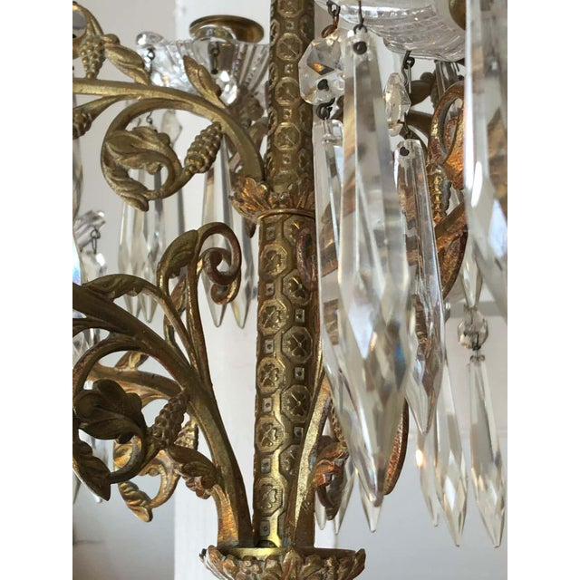 Mid 19th Century Cast Bronze and Crystal Candle Sconces -A Pair For Sale - Image 5 of 10