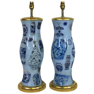 A Pair Of Hand Painted Declamania Lamps