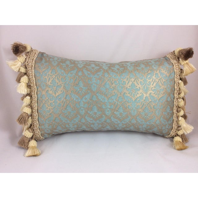 Fortuny Aqua Silk & Down Filled Pillows - A Pair - Image 2 of 4