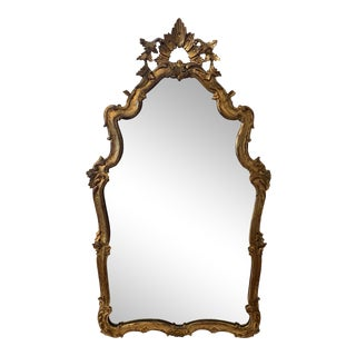 Antique Rococo Italian Gilt Wood Hand Carved Mirror For Sale