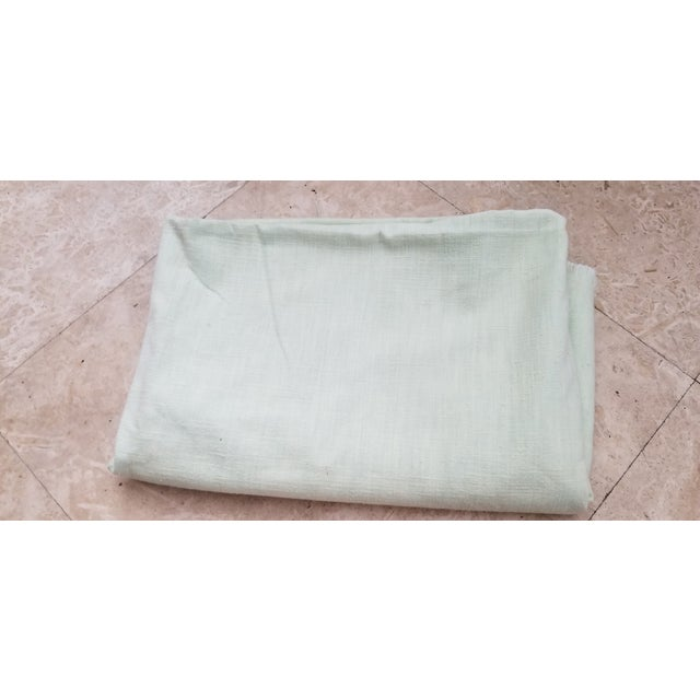 Late 20th Century Pale Green Linen Vintage Fabric For Sale - Image 5 of 9