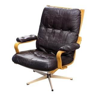 1960s Gote Mobler Bent Wood Leather Swivel Chair For Sale
