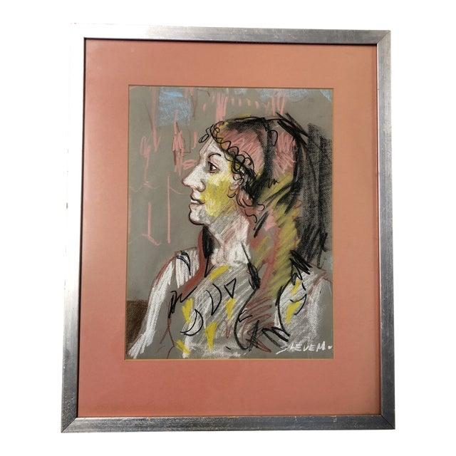 Vintage Original Pastel Female Portrait Drawing Ny Label 1970's For Sale