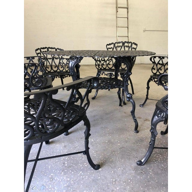 Black French New Orleans Style Umbrella Dining Table and Chairs Patio Set For Sale - Image 8 of 10